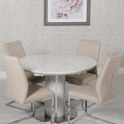 Allure round extending table & 4 seattle chairs