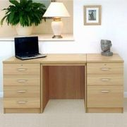Desk with two drawer units